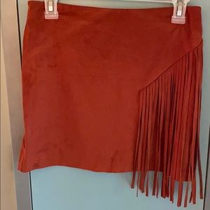 Faux suede mini skirt with fringe detail